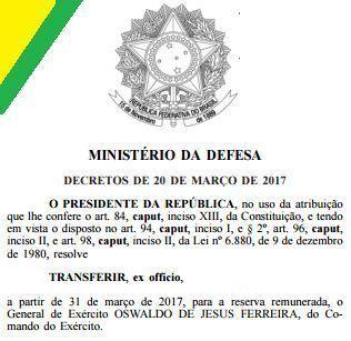 Presidente Michel Temer determina Exoneração / TRANSFERÊNCIA para a RESERVA de 16 generais de uma só VEZ