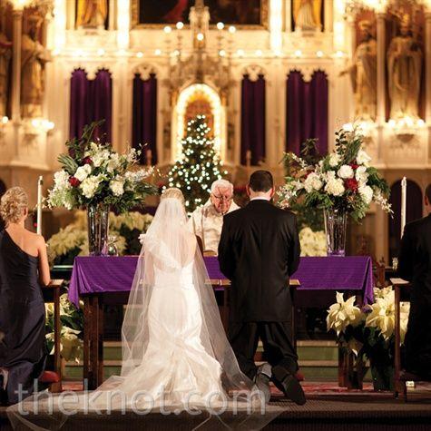 Winter Church Ceremony Decor