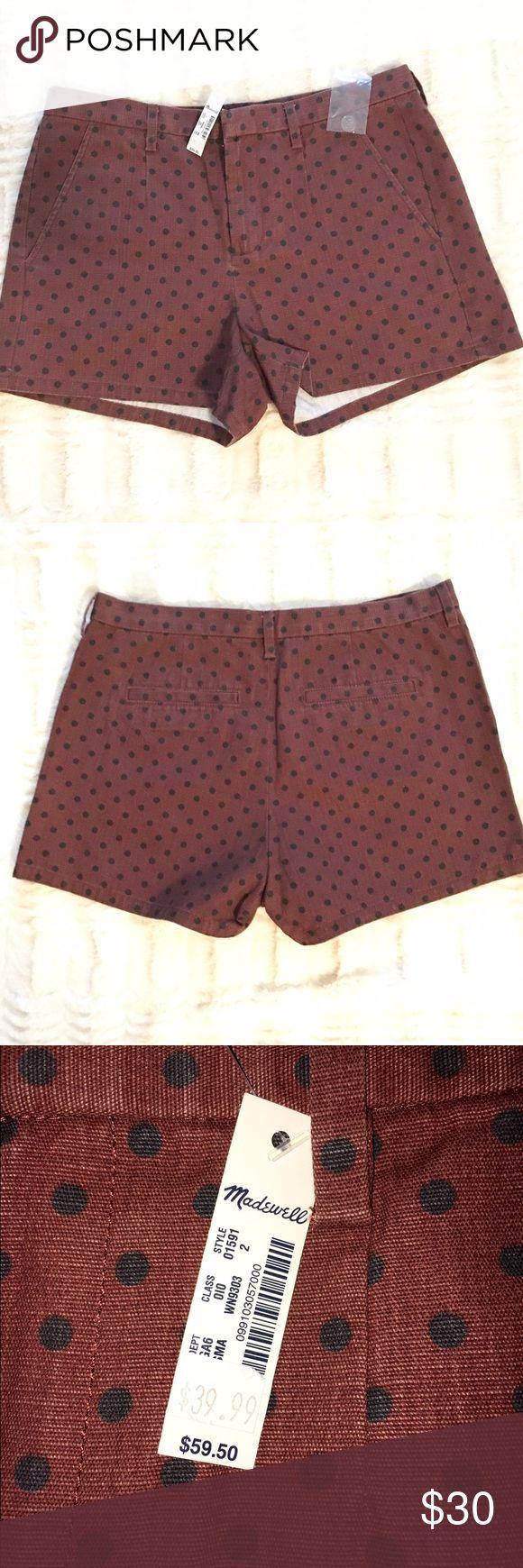 Madewell Maroon and Black Polka Dot Shorts - NWT Brand new with tags maroon with black polka dots shorts from Madewell. Madewell Shorts