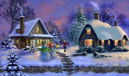 Winternight - christmas, splendor, magic, trees, houses, forest, beautiful, lovely, snow, winter, merry, lights