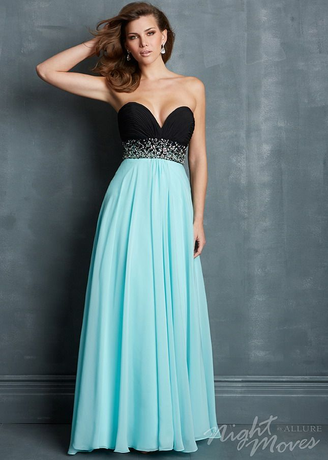 Black Blue Strapless Sequined Waist Sparkly Long Prom