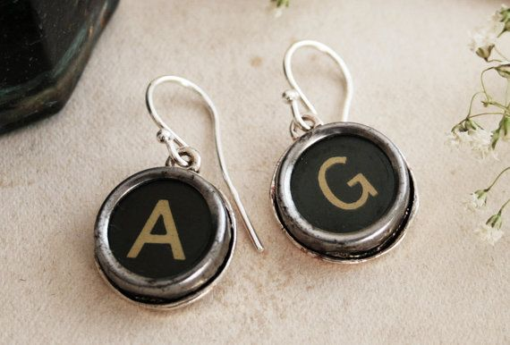 Monogram Earrings Custom made Typewriter key by KfiatekGiftedHands, £18.00