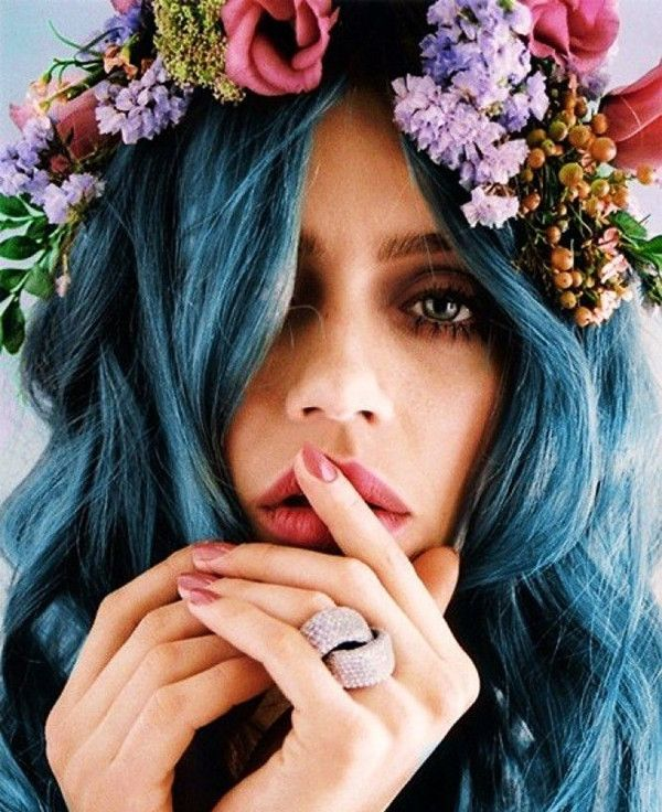 Turquoise mermaid hair with flower bohemian hairstyle 2015 summer