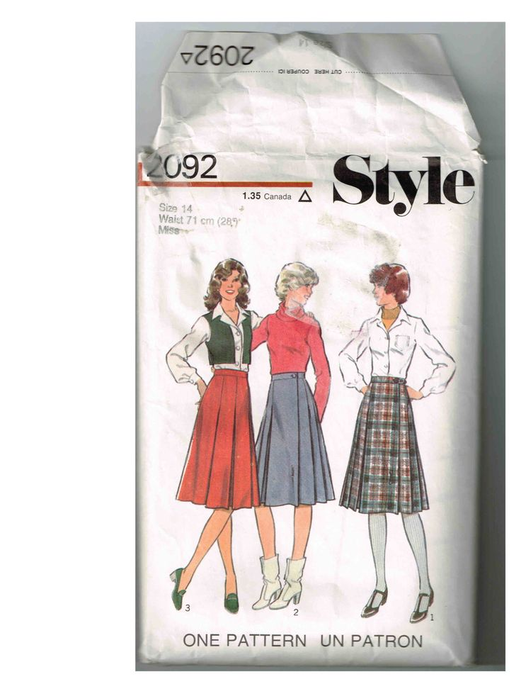 Vintage Style 2092 Misses Set of Skirts Sewing Pattern by TheShoppingMoll on Etsy