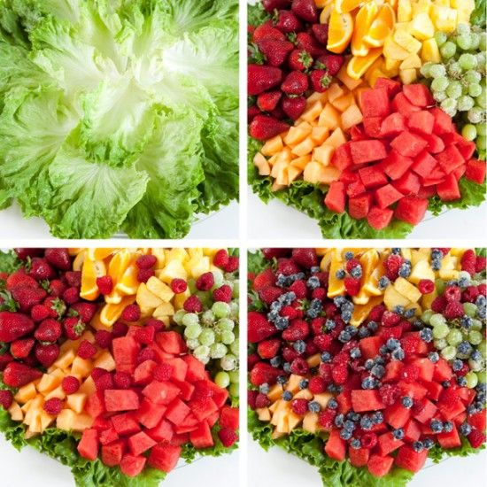 Fruit Platter Assembly -- cover base with green leaf lettuce, choose a rainbow of colored fruit, sprinkle small berries on top that have been rolled in sugar.