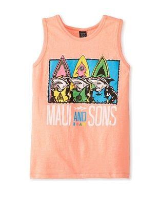 71% OFF Maui & Sons Boy's Shark Row Tank (Neon Peach Heather)