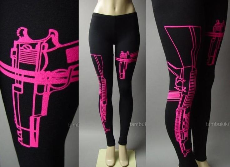 Hot Pink Machine Gun AK-47 Pistol Graphic Print Rebel Punk 81 mv Legging S M L