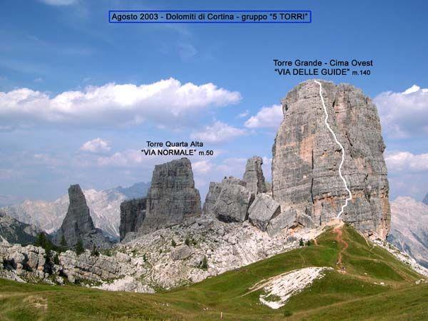 Via delle guide, Torre Grande,cima ovest, Cinque Torri,Dolomites