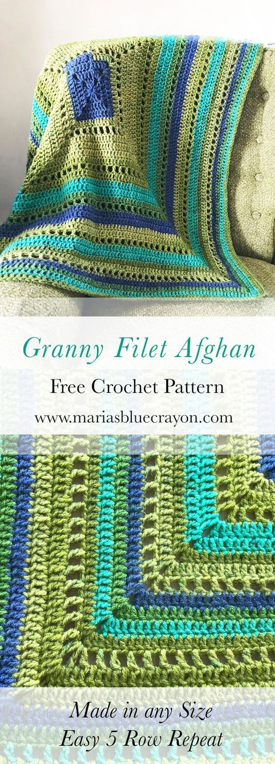"Granny Filet Square Afghan | Free Crochet Pattern | Blanket made from a large granny square with filet rows for a lighter/breezier blanket | Made in any size | Easy and beginner friendly 5 row repeat to complete this blanket | 2 skeins Caron Cakes Blueberry kiwi used to make a 47"" square blanket"