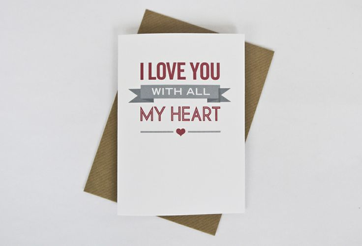 Image of 'I love you with all my heart' Valentine's card in red