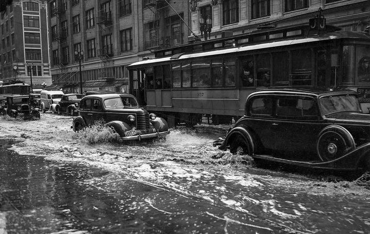Rainy day, Broadway, Los Angeles, 1938