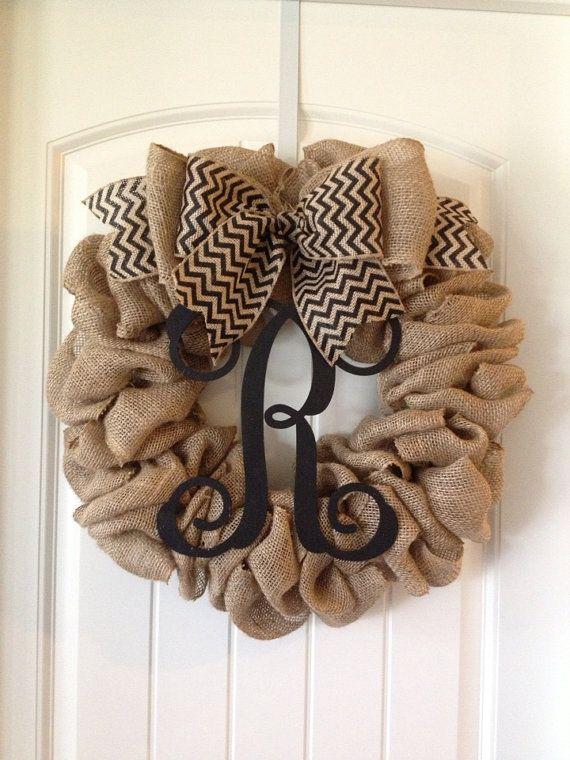 Burlap Vine Wreath by TheScarlettBelle on Etsy, $80.00
