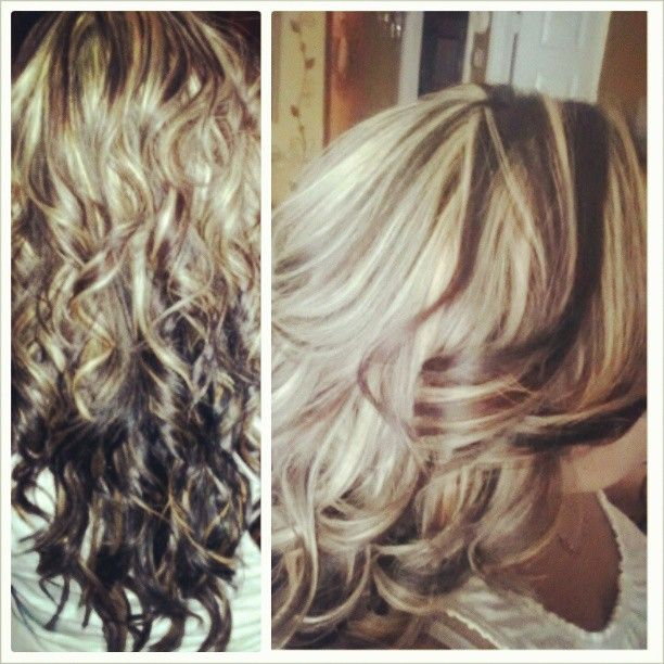 Chocolate Brown And Platinum Blonde Highlights Hair