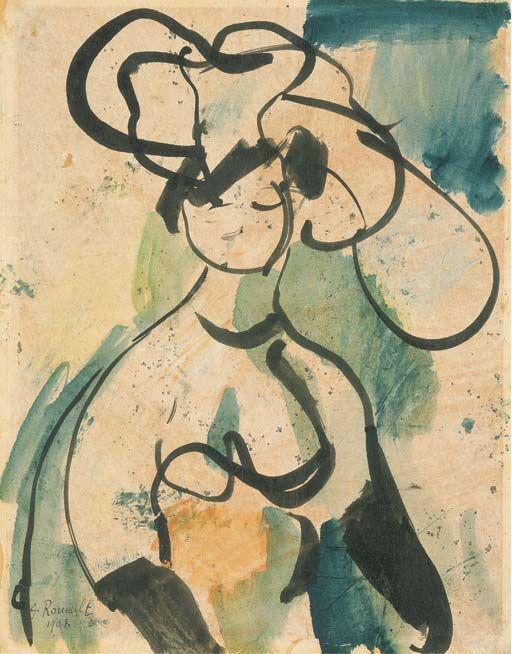 Georges Rouault, Femme au chapeau (élégante), 1908