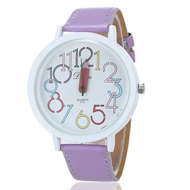 Women's Colorful Numbers Round Dial PU Band Analog - Digital Wrist Watch – AUD $ 8.64
