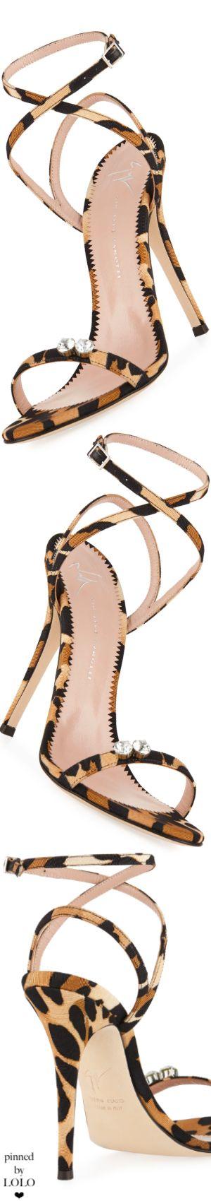 Giuseppe Zanotti Leopard-Print Grosgrain Sandal #giuseppezanottiheelssandals