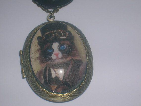 handsome steampunk cat locket