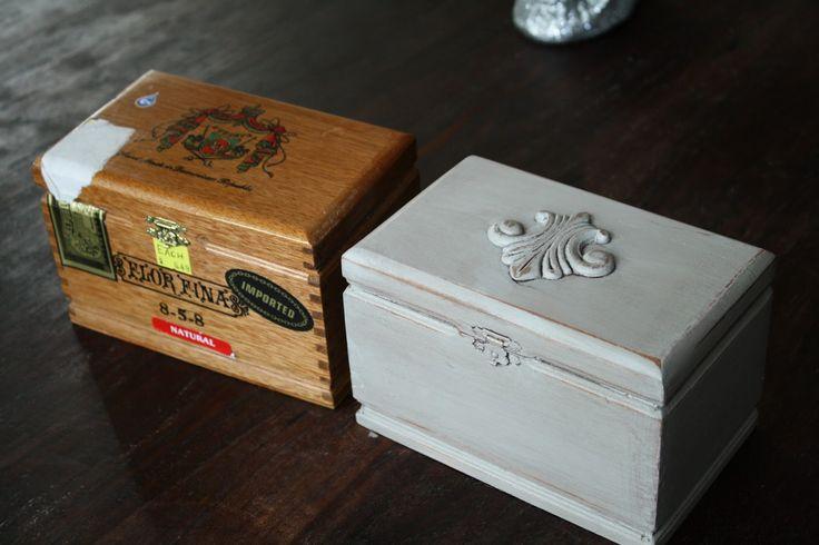 Repurposed cigar box cigar boxes to trinket boxes for Cardboard cigar box crafts