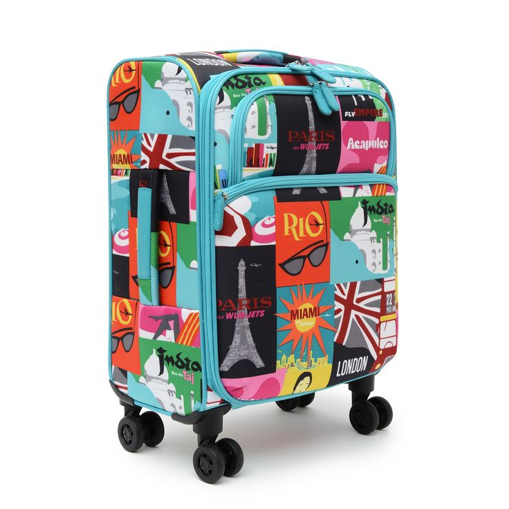 """French Bull 21"""" spinning/rolling suitcase available at Target. JET SET.  Colorful and bold print inspired by vintage travel posters - meant to inspire your next destination! Perfect carry on suitcase size.  Never mistake your bag for everyone else's boring, black luggage again!"""