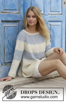 Чудесный свободный пуловер для женщин с рукавом реглан, связанный на спицах 5.5 мм из двух видов тонкой шерстяной пряжи. Вязание