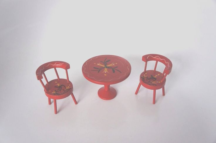 SALE!! VTG. DOLLHOUSE MINIATURE: 3PC. WOODEN TABLE AND CHAIR SET: MADE IN JAPAN | eBay