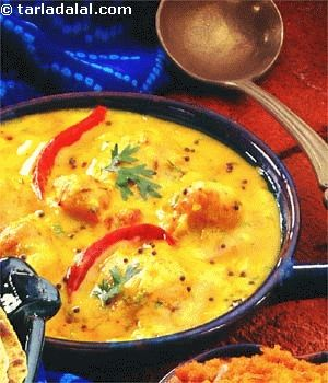 The Rajasthani staple dahi pakoda kadhi is more popularly known as 'khatta'. Kadhi-chawal is a meal combination that features almost every other day in Rajasthani households.  Nutritious and wholesome, this is one of my favourite recipes which was shared by a very close Marwari friend.   I am sure you will enjoy this recipe as much I have.