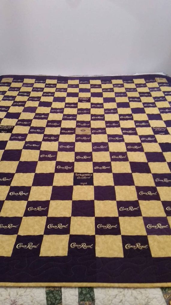 This listing is for a custom made to order Crown Royal Quilt. You choose the size, pattern, colors and the amount of Crown Royal bags you would