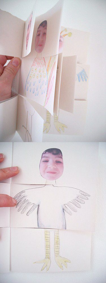 """..dividing them into three sections, to make books where you can swap heads, middles and legs. Here are some examples of the books they created using photographs of themselves as a starting point."": Swap Head, Fun Books, Books Diy, Flip Books, Funny Books, Kids Art, Books Ideas, Diy Kids, Diy Books"