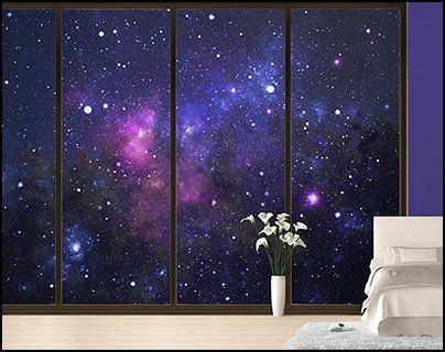 Sun moon stars wall decals outer space wall murals for Outer space themed fabric
