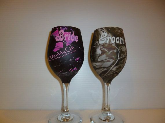 Set of bride and groom camo wine glasses processed by RuttinCamo, $44.50