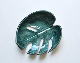 Green Leaf Bowl – Keramik, Keramik – Schmuck Dish, Ring Dish, Schlüsselhalter, Seifenschale – Geschenke für Pflanzenliebhaber