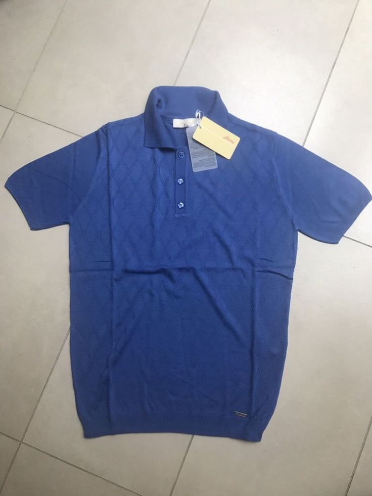 Knitwear Brioni Tshirt Polo New Men Rhombus Pattern Size XL color Blue #Brioni #MoistureManeger
