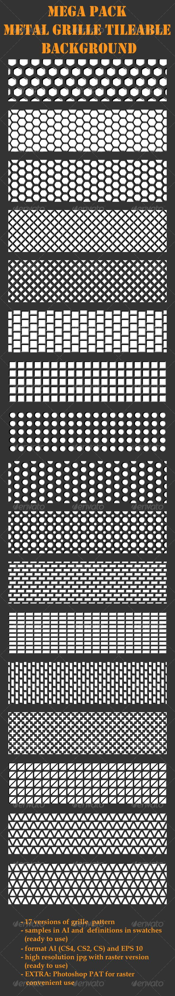 Grille Metal Backgrounds  Mega Pack  17 patterns — AI Illustrator #regular #grille • Available here → https://graphicriver.net/item/grille-metal-backgrounds-mega-pack-17-patterns/96701?ref=pxcr