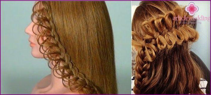Svadobný účes s pletenie na médium, dlhé a krátke vlasy. Master class krok za krokom fotografie a videá
