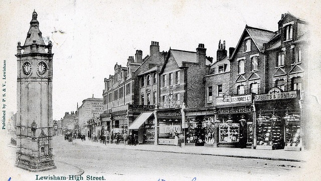 Lewisham High Street, from a postcard dated 1906 | Shops were bombed in 1944