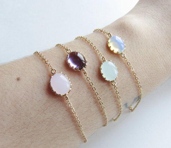 Bracelets d'Opale. Blanc opale Jade clair par SweetheartJewelryBox