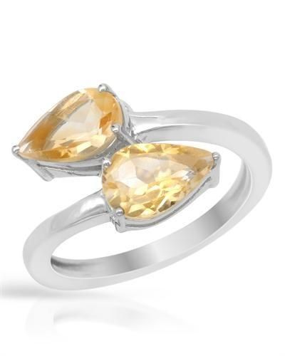 Silver Ring With Citrines - Size 8 Stylish ring with genuine citrines well made in 925 sterling silver. Total item weight 3.6g. Gemstone info: 22 citrines, 2.16ctw., pear shape and yellow color.