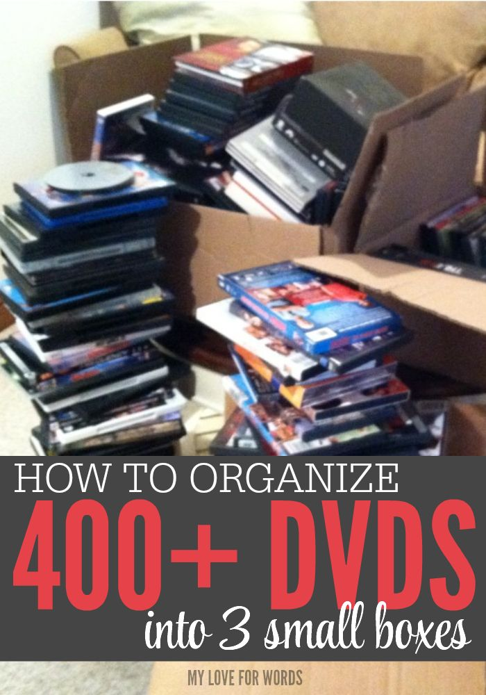 Our family loves movies, but I hated having to find a way to store all of the clunky dvd boxes. This is how we've organized over 400 dvds into just 3 small, manageable boxes.