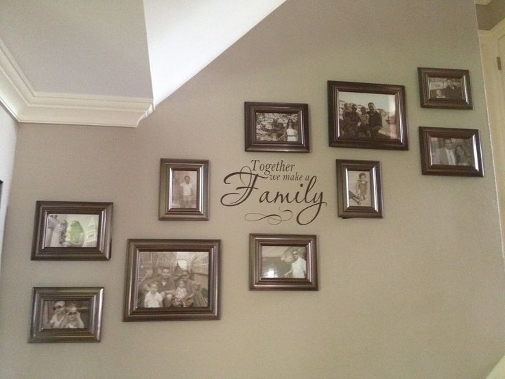 Photo wall.  Updated the layout of the photo wall up our staircase by adding more frames and a decal. Final layout includes 4-4x6's, 4-5x7's and 2-8x10's.