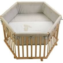 Roba 6 Sided Wooden Playpen Height Adjustable + Mattress Natural Love Me Teddy Beige - Collection 2017
