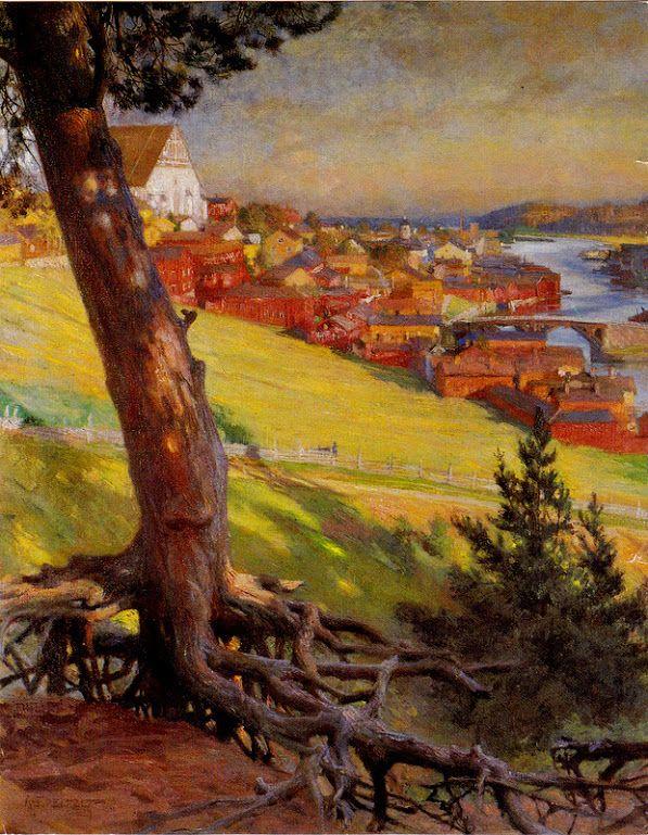Kuva albumissa ALBERT EDELFELT - Google Kuvat. Porvoo Linnanmäeltä, 1892.  Hotelli Haikon Kartano.  Iso kortti.