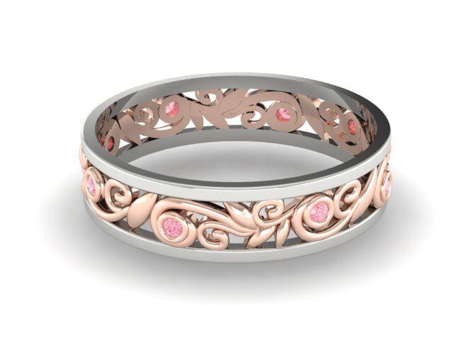 Vine pattern two tone ring, Comfortable Diamond Eternity band, Pink Natural Diamonds Filigree 2 tone Bridal band, Handmade Wedding Eternity by BridalRings on Etsy https://www.etsy.com/listing/245113562/vine-pattern-two-tone-ring-comfortable