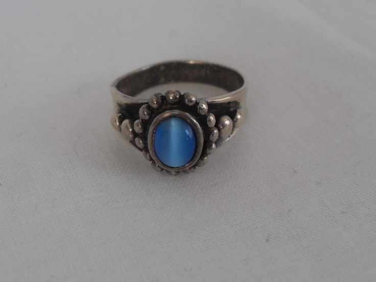 Southwestern Sterling Blue Cat's Eye Ring, Big Blue Gemstone sterling silver ring, Tribal style healing gift for her Gingerslittlegems by GingersLittleGems on Etsy