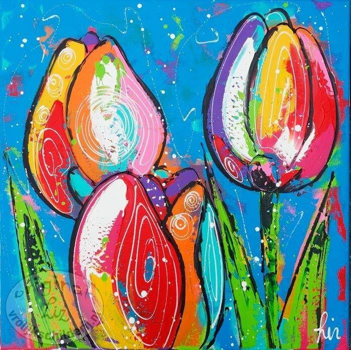 Vrolijk Schilderij, Tulpen, Blauw