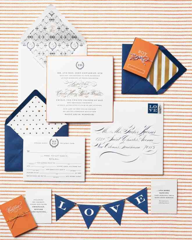 """""""We wanted the suite to be beautiful and elegant, but fun, too,"""" says Lydia of their letterpressed and foil-stamped invitations, which included a mad Libs–style reply card and a tiny banner that spelled out """"love."""""""