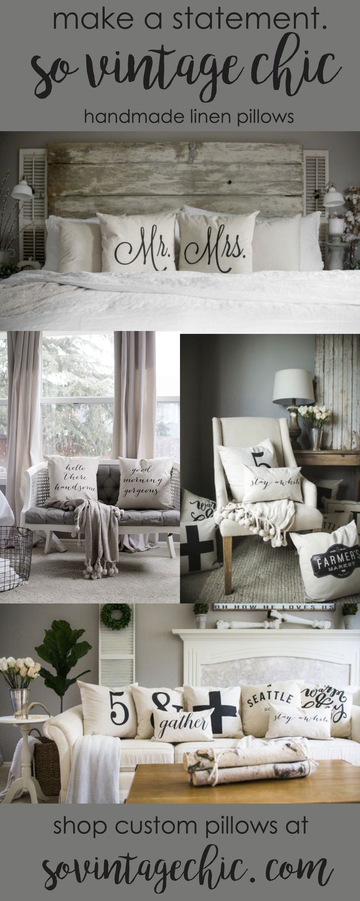 Make a statement with gorgeous handmade pillows from So Vintage Chic! Click to…