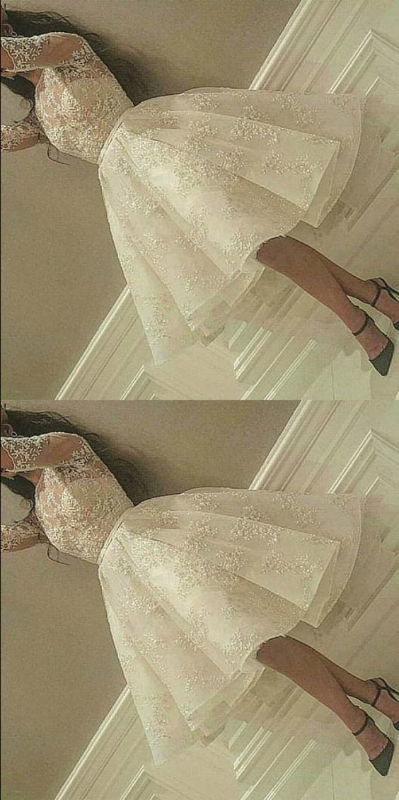Short lace prom dress, white homecoming dress, half sleeves prom dress 0551