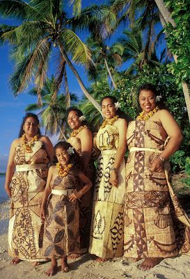 "Tonga - ladies dressed in tapa cloth. (The English Word ""tapa"" is originally Tongan"")"