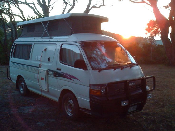 Sun rises over the camper at Walkerville, Victoria