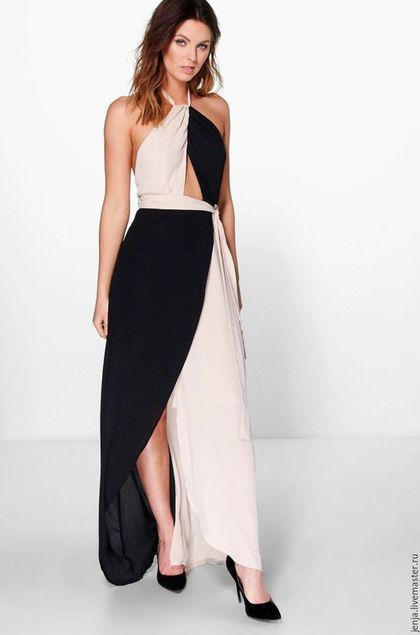 Maxi dress / Платья ручной работы. Ярмарка Мастеров - ручная работа. Купить Femme fatale dress in black and beige. Handmade.
